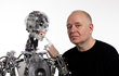 Engineered Arts founder Will Jackson and the Mesmer-series robot