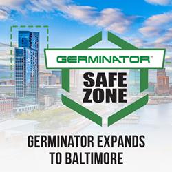 Baltimore skyline with Germinator branding