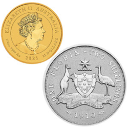 Perth Mint's gold and silver florin coins, available only from Birch Gold Group