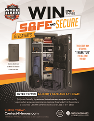 """Floor Safe with items inside. Words, """"Win one of three"""" Safe and Secure Giveaways."""