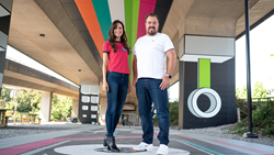 Victoria Samways, Marketing & Cryptocurrency Group Lead, and Chris Breikss, Co-Founder at a blockchain AR art installation.