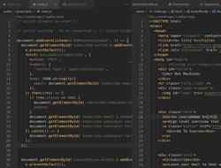 Capture d'écran du code HTML et JavaScript